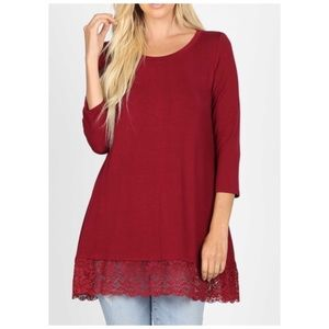 3/4 sleeve top tunic cranberry wine lace trim NWT